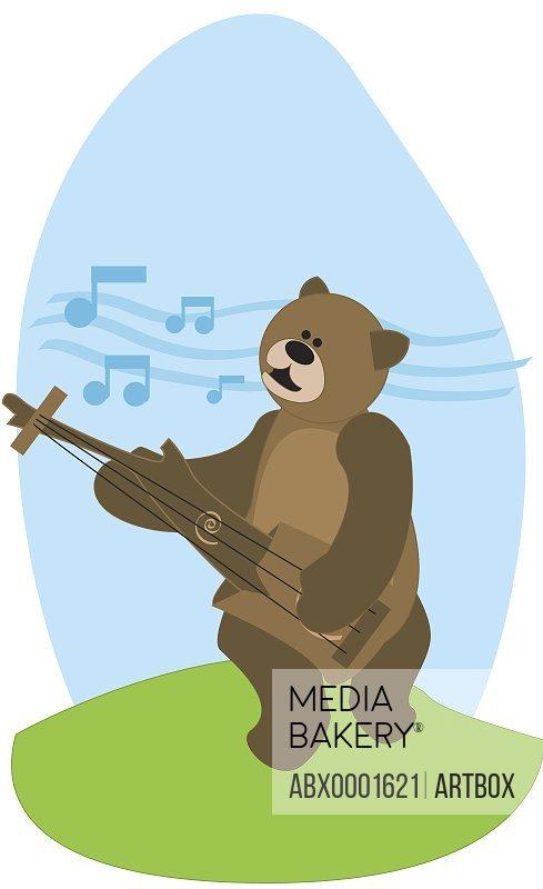 Bear playing a guitar