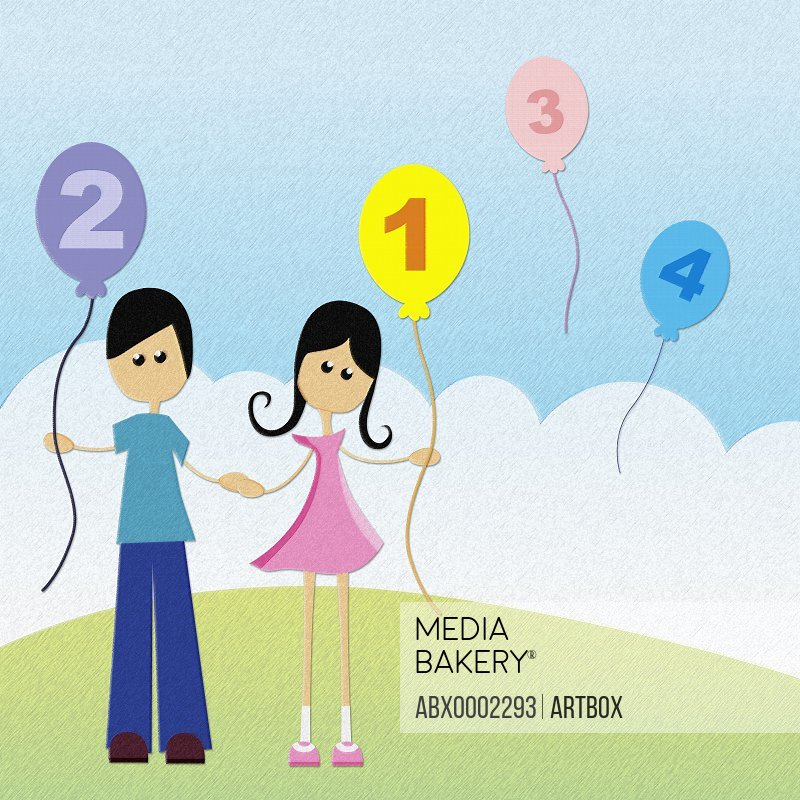 Boy and a girl holding hands and a balloon