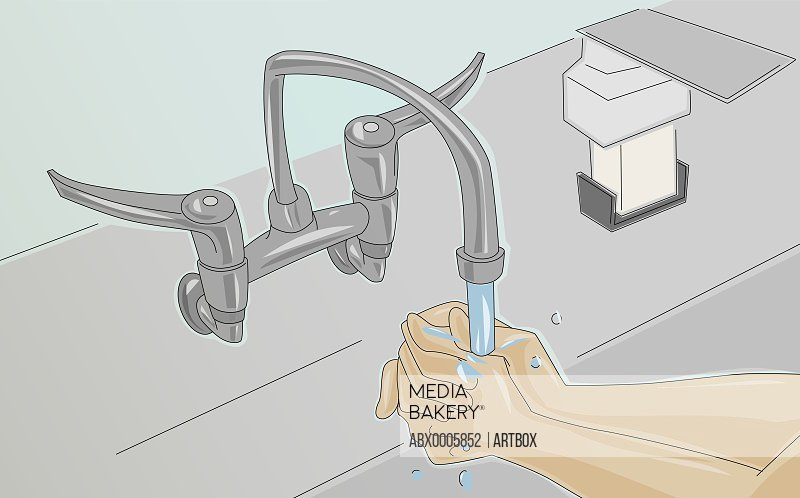 Person washing hands under a faucet