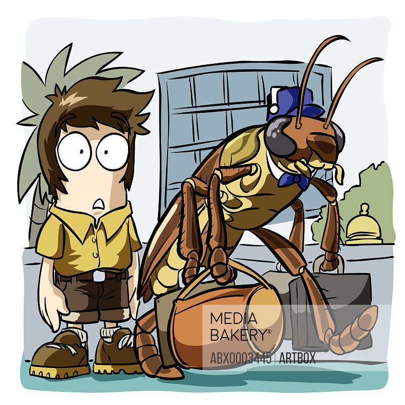 Cockroach carrying a man's luggage