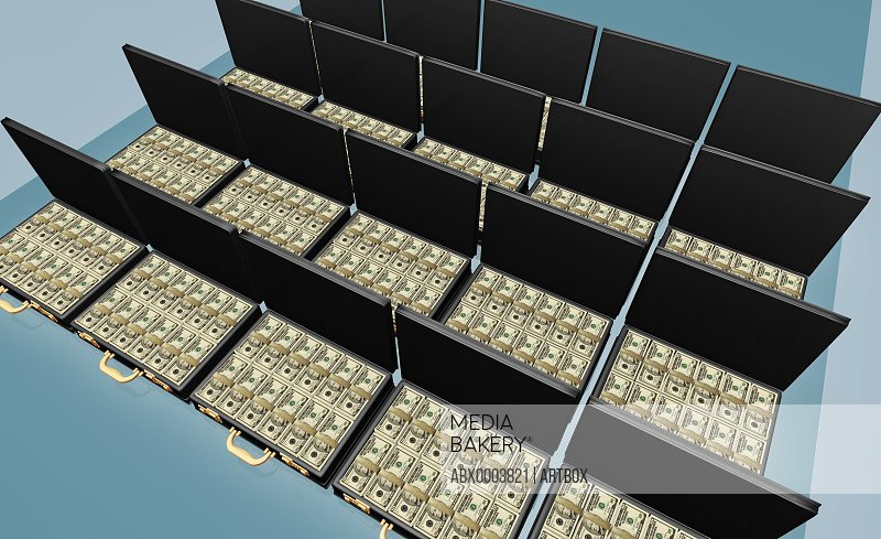 High angle view of American dollar bills in briefcases