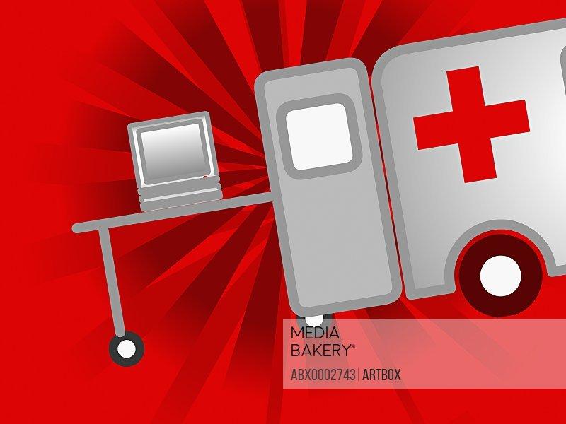 Desktop PC on a hospital gurney near an ambulance