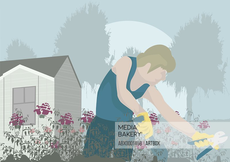 Woman gardening in the lawn