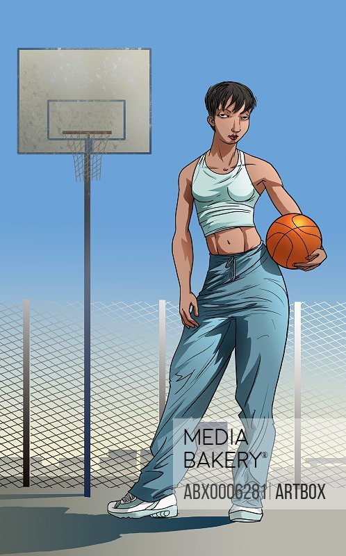 Woman standing with a basketball