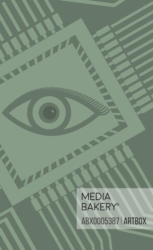 Human eye on a circuit board