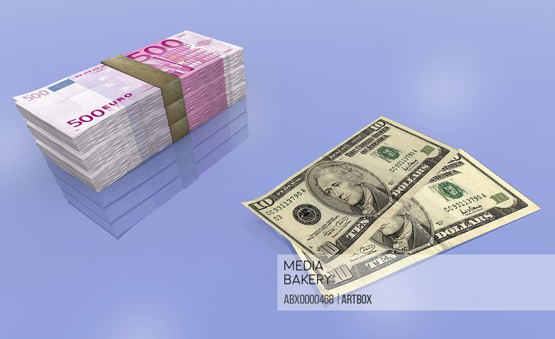 US dollar bills with bundles of Euro Banknotes