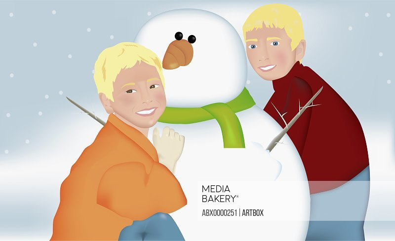 Portrait of two boys playing with a snowman