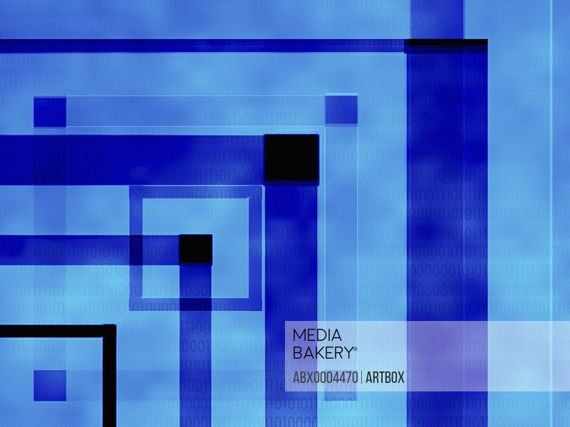 Geometric shapes on a blue background
