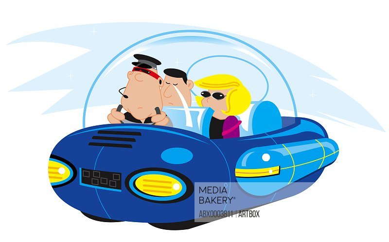 Three people traveling in a vehicle