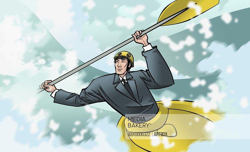 Businessman kayaking