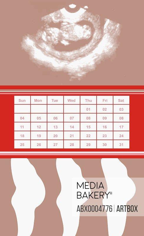 Three pregnant women standing under a calendar
