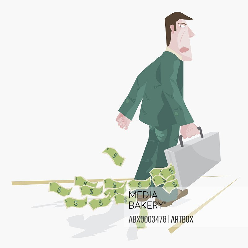 Businessman carrying a briefcase of american currency