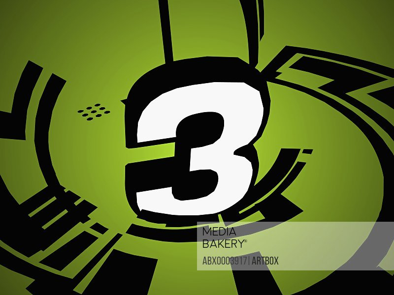 Number 3 on a green background