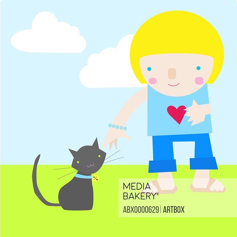 Girl standing besides a cat