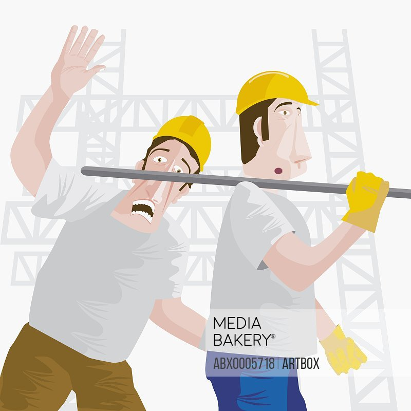 Construction worker getting hit by an iron rod