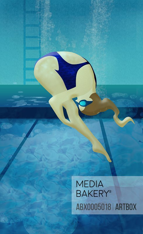 Woman diving into a swimming pool