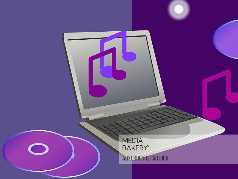 Laptop with CD's and musical notes