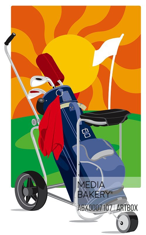 Golf cart with golf clubs