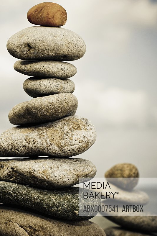 Close-up of stacked pebbles