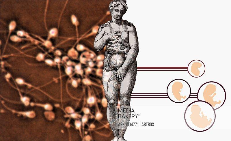 Naked woman beside diagrams of human fetuses