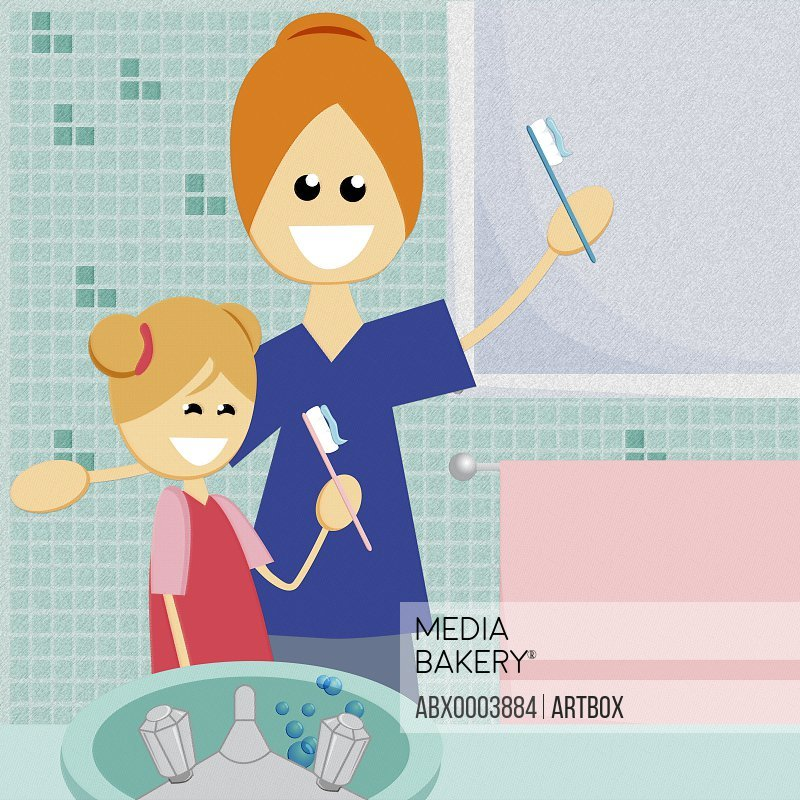 Mother and her daughter holding toothbrushes