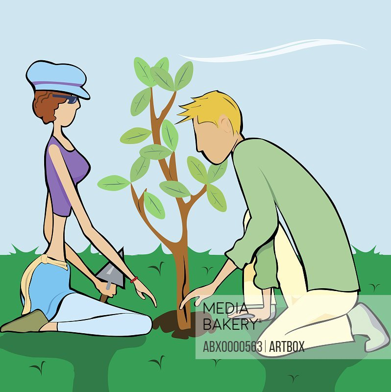 Man and a woman planting a tree