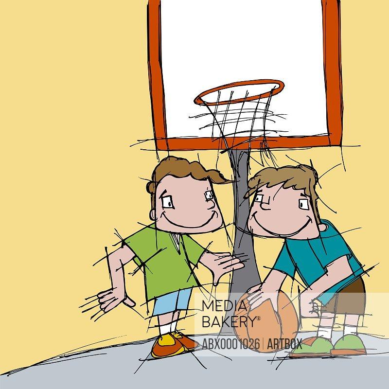 Two boys playing basketball