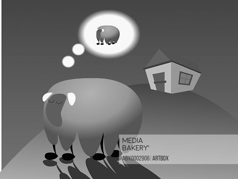 Male elephant dreaming of a female elephant