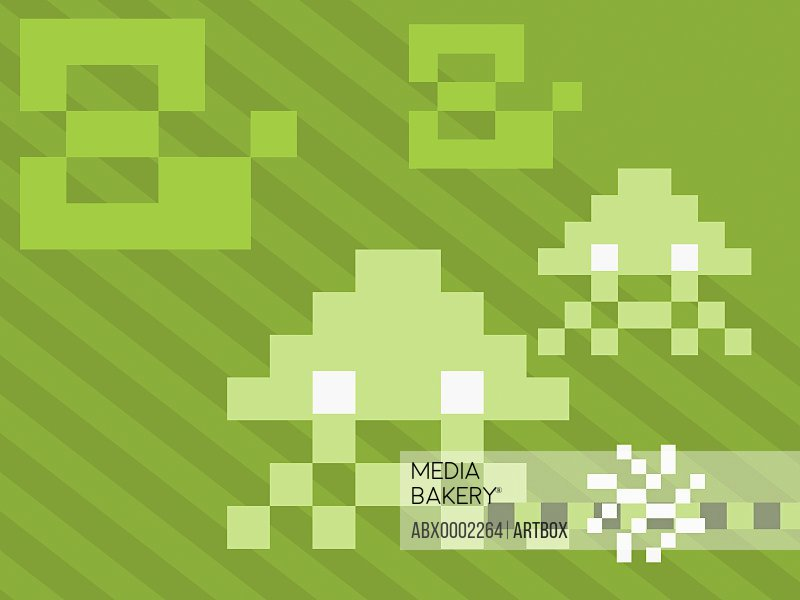 Abstract designs on a green background