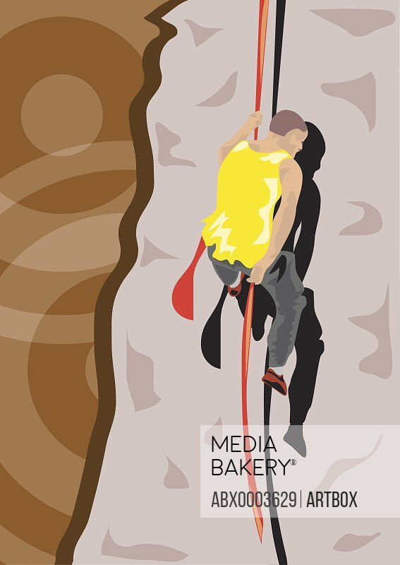 Rear view of a man rock climbing