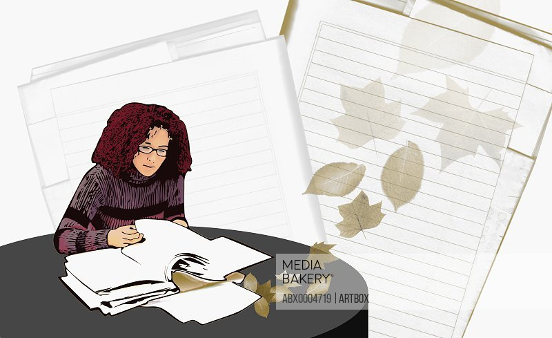 Woman reading a file