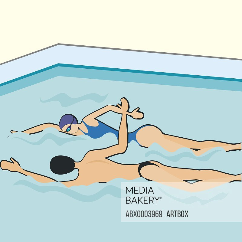 Man and a women swimming in a swimming pool