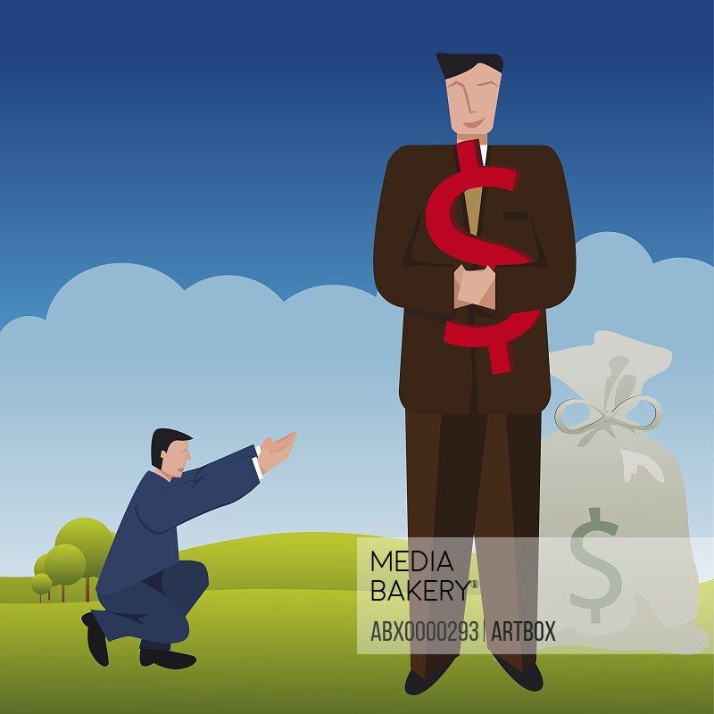 Businessman holding a dollar sign