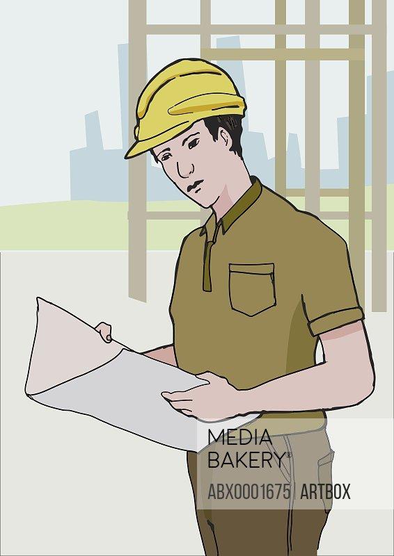 Construction worker holding a blueprint