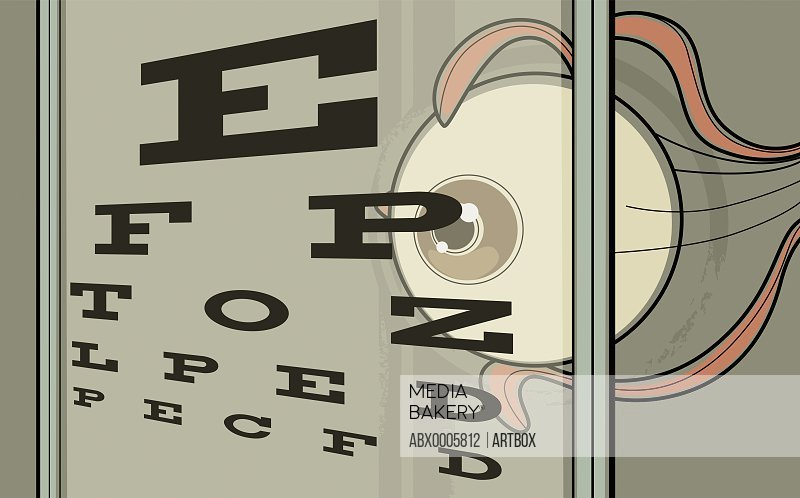Close-up of an eye chart