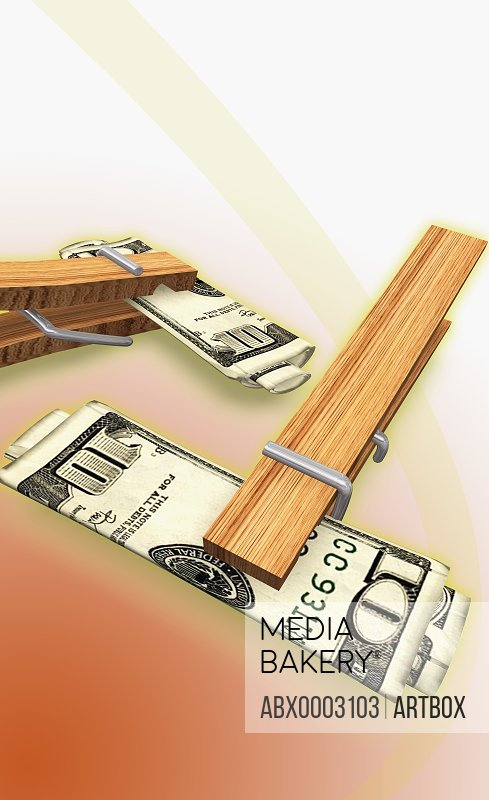 Ten dollar bills clipped with clothespins