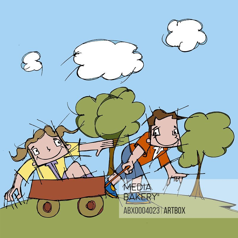 Boy pulling a girl in a cart