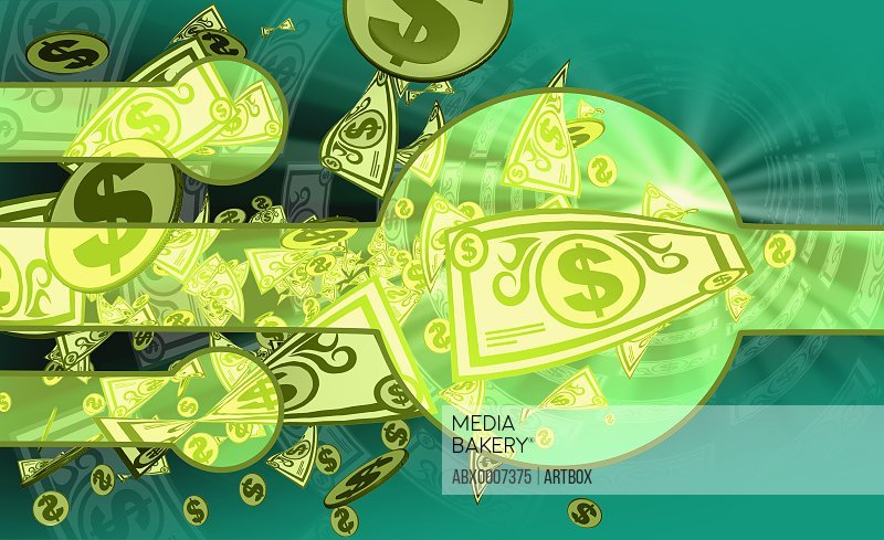 Paper currency with dollar signs