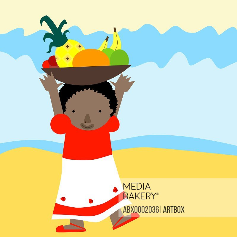 Girl carrying a basket of fruit on her head