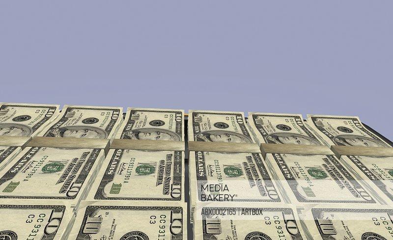 Close-up of bundles of American ten dollar bills