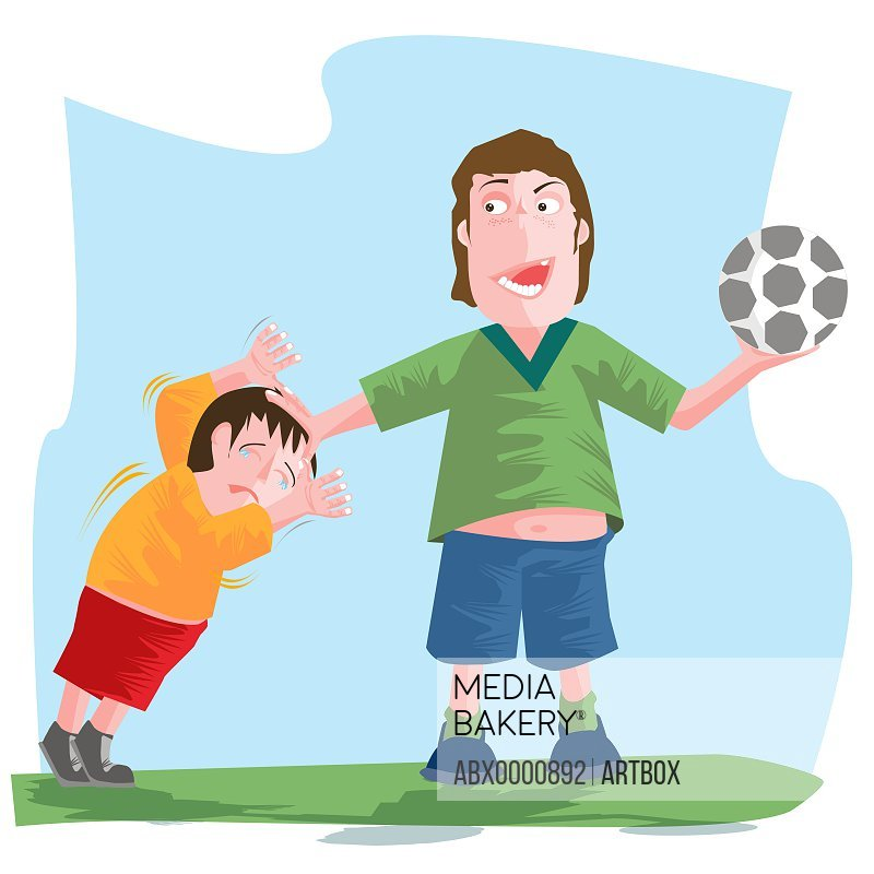 Man holding a soccer ball and scolding a boy