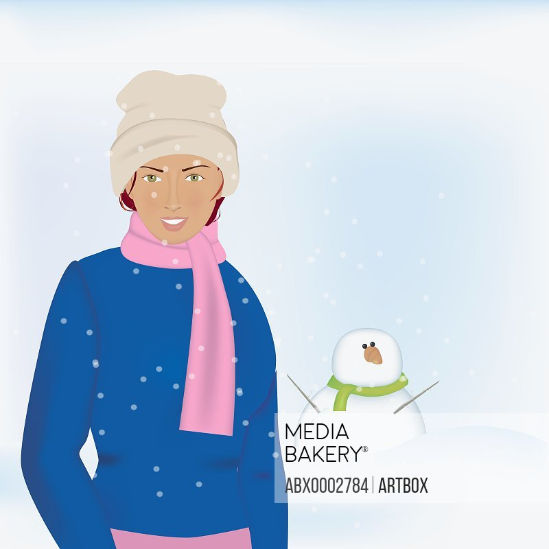 Woman standing in front of a snowman