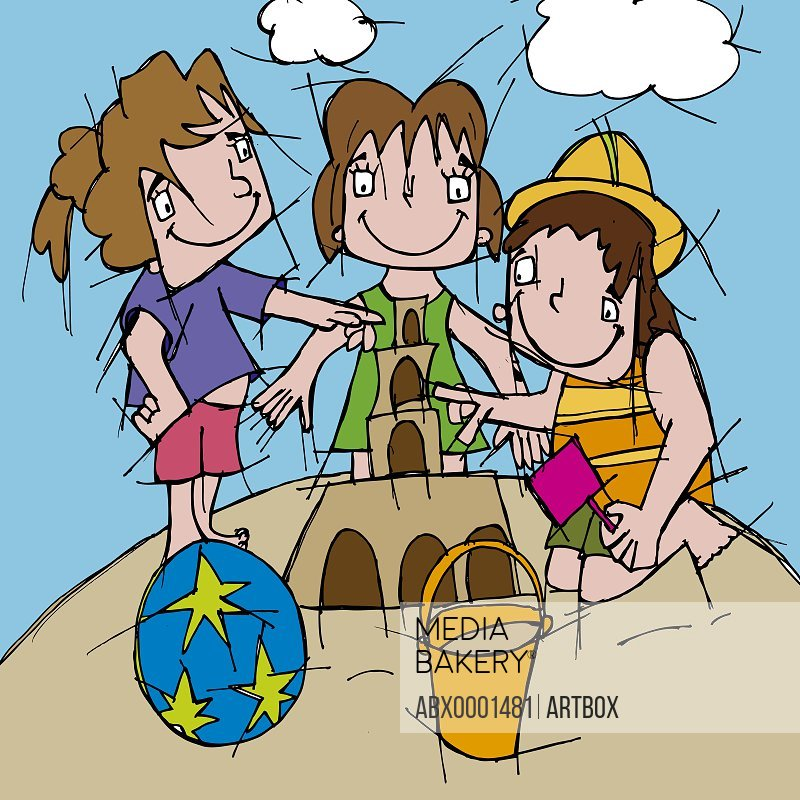 Three girls making a sand castle