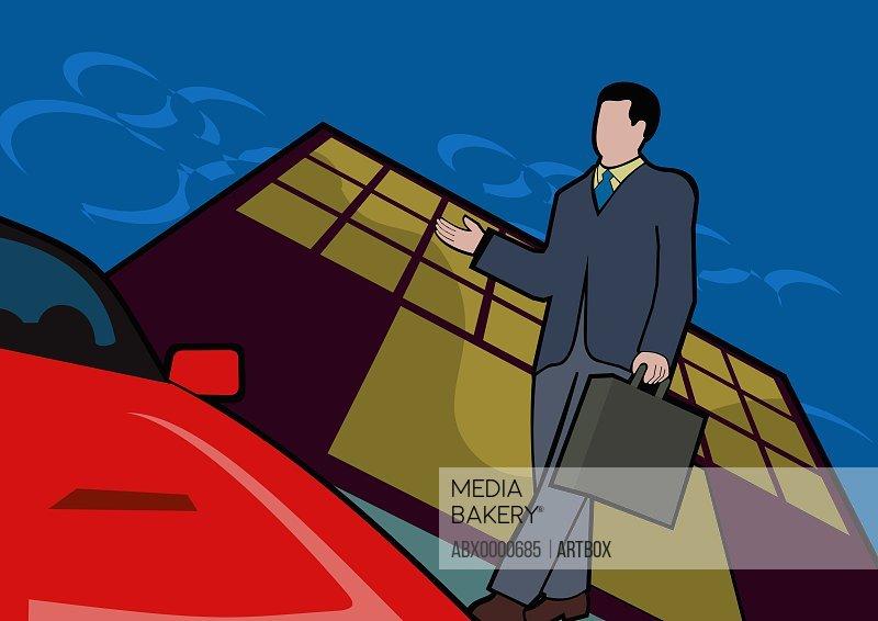 Businessman holding a briefcase walking towards car