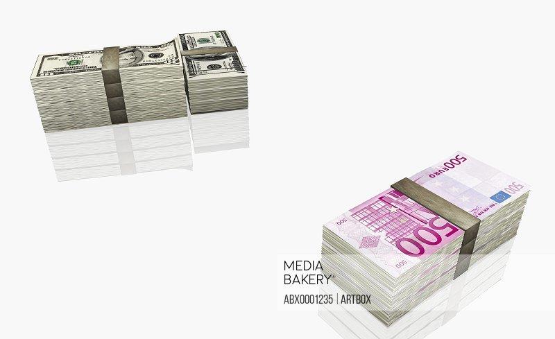 Bundles of american and euro banknotes