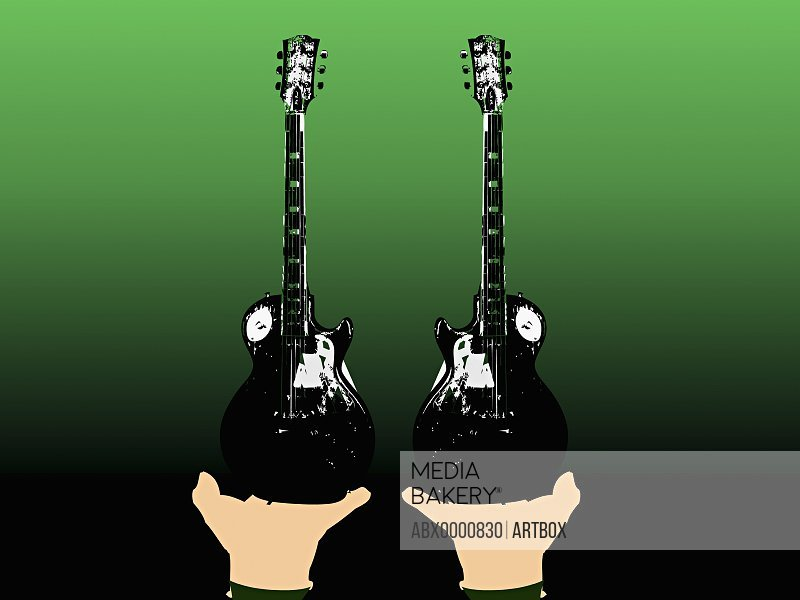 Close-up of human hands holding guitars