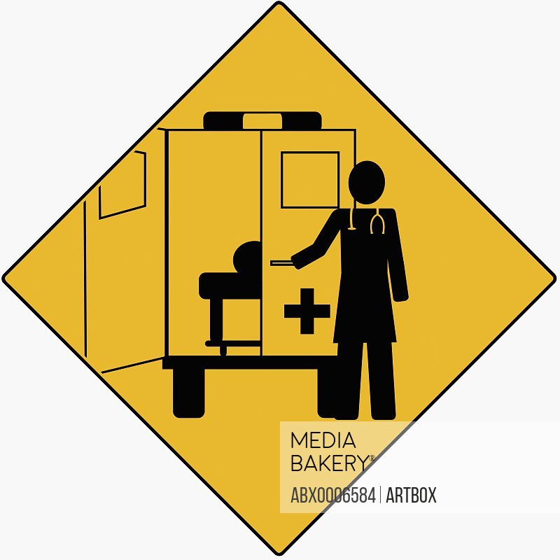 Silhouette of a doctor opening the door of an ambulance