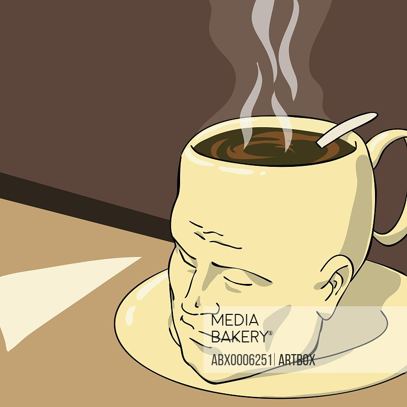 Man's head in the form of a coffee cup with coffee in it