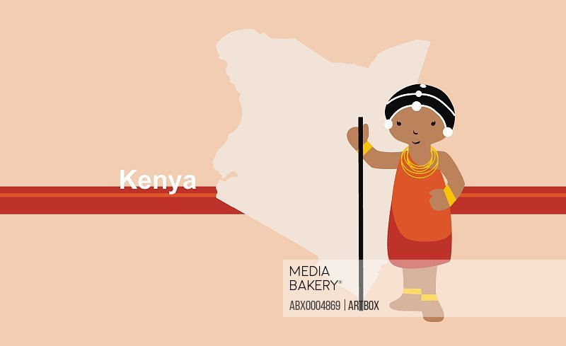 Girl in traditional clothing near map of Kenya