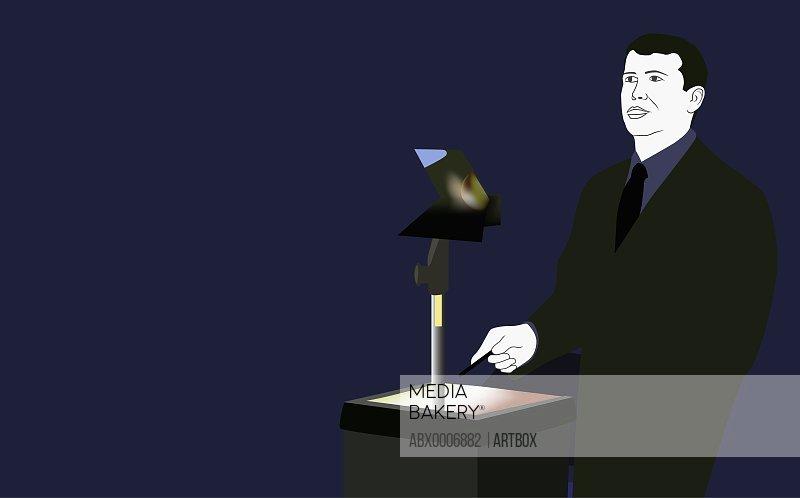 Businessman giving a speech